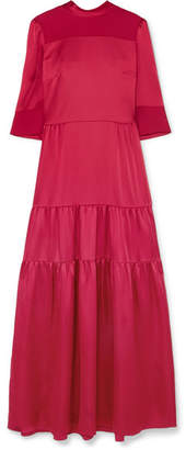 Vilshenko Avelina Tiered Satin And Crepe Maxi Dress - Crimson