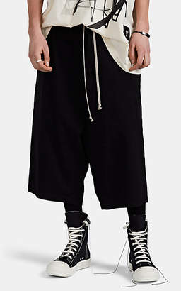 Rick Owens Men's Cotton Drop-Rise Drawstring Shorts - Black