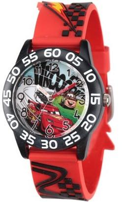 Disney Lightning McQueen Boys' Black Plastic Time Teacher Watch, Red 3D Plastic Strap