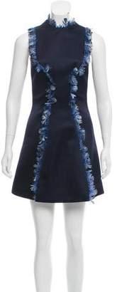 Christopher Kane Feather-Trimmed Silk Dress