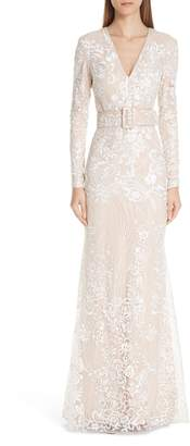 Badgley Mischka Embroidered Belted Gown