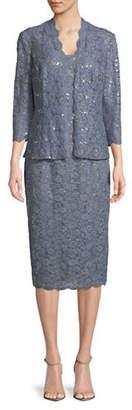Alex Evenings Embellished Jacket and Sleeveless Lace Midi Dress