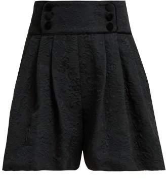 Dolce & Gabbana High Rise Floral Jacquard Shorts - Womens - Black