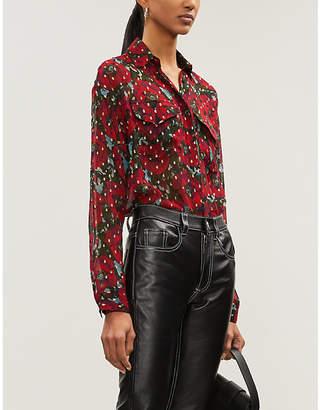 The Kooples Metallic floral-print silk-georgette shirt