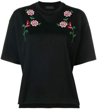 Diesel Black Gold flower embroidery T-shirt