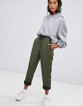 Asos DESIGN quilted joggers in green