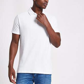 River Island Mens White waffle slim fit polo shirt
