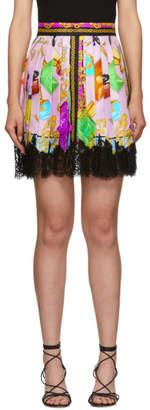 Versace Multicolor Perfume Pleated Miniskirt