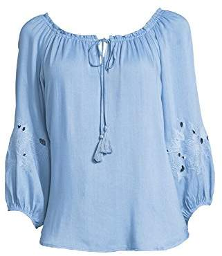 John Paul Richard Women's Denim Peasant Top with Cutout and Embroidery Detail