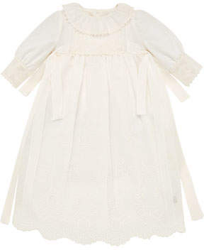 Carrera Pili Long-Sleeve Embroidered Christening Gown w/ Bloomers & Bonnet, Size 3-6 Months