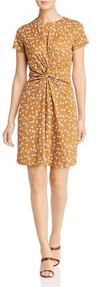 Kenneth Cole Printed Twist-Front Tee Dress