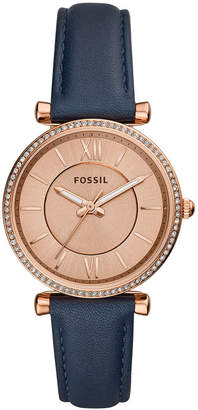 Fossil Women's Carlie Navy Leather Strap Watch 35mm