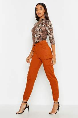 boohoo High Waist Woven Cargo Pocket Pants