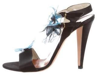 Oscar de la Renta Satin Ankle Strap Sandals