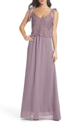 Heartloom Koko Tie Shoulder Lace Bodice Gown