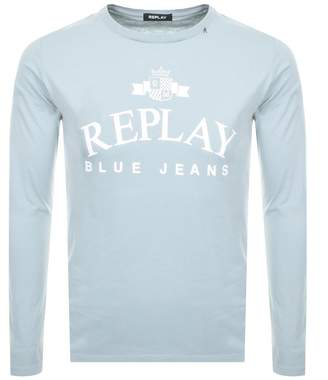 Replay Logo Long Sleeved Crew Neck T Shirt Blue