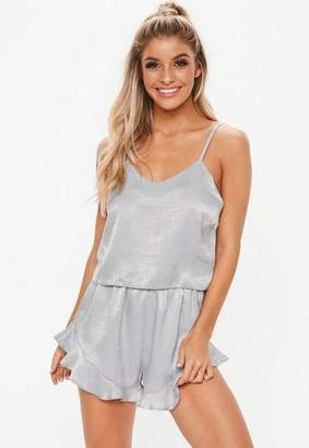 Missguided Satin Cami Frill Short Pyjama Set
