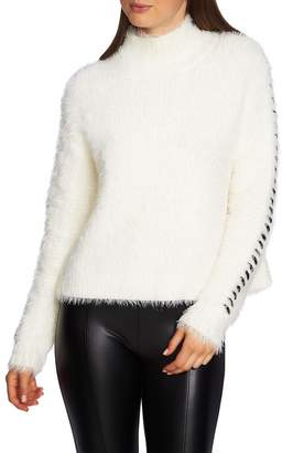 1 STATE 1.STATE Eyelash Fringe Mock Neck Sweater