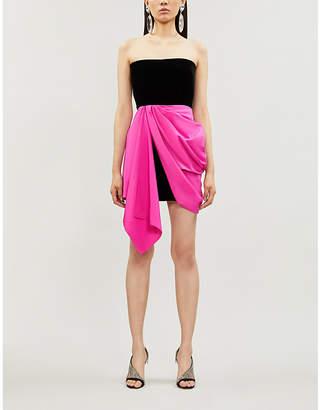 Alex Perry Reyes asymmetric velvet and taffeta mini dress