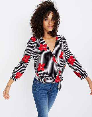 Madewell Wrap Top in Candied Orchids