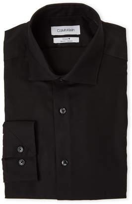 Calvin Klein Black Spread Collar Slim Fit Stretch Dress Shirt