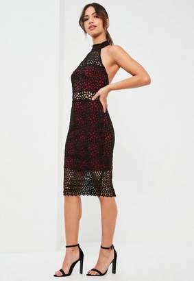 Missguided Burgundy Lace High Neck Midi Dress