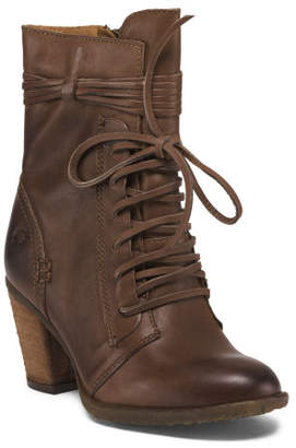 Leather Lace Up Granny Boots