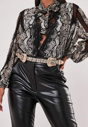 Missguided Brown Snake Print Double Buckle Western Belt