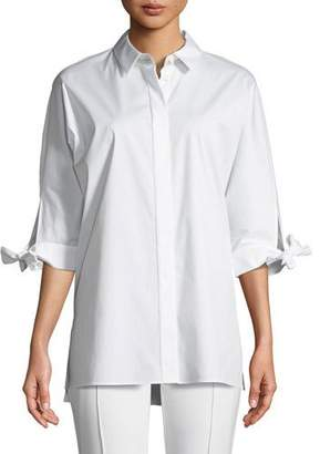 Lafayette 148 New York Saige Button-Down Tie-Cuffs Cotton Shirting Blouse