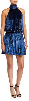 Ramy Brook Lori Velvet Halter Short Dress