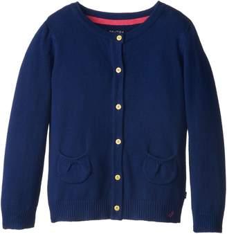 Nautica Little Girls' Jersey Cardigan Sweater with Pockets