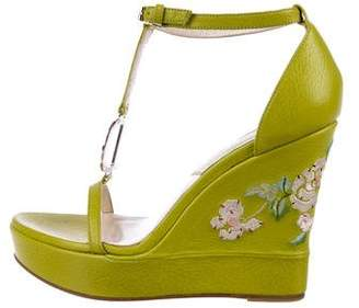 Christian Dior Leather Embroidered Wedges