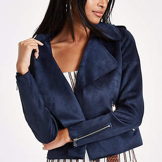 River Island Navy blue faux suede cropped trench jacket