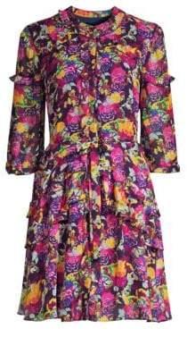 Saloni Tilly B Silk Floral Belted Dress