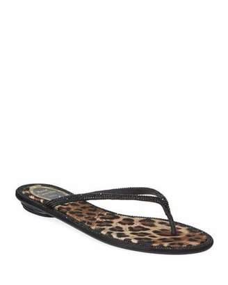 cc807a90a40a56 Rene Caovilla Flat Leopard-Lined Thong Sandals