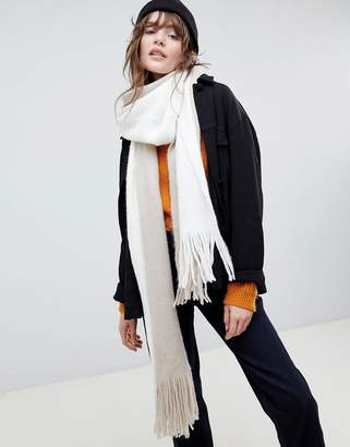 Asos DESIGN long tassel super soft knit scarf in color block