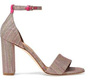 M Missoni Leather-Trimmed Metallic Crochet-Knit Sandals