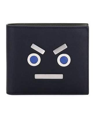 Fendi Leather Face Bi-Fold Wallet, Black $500 thestylecure.com