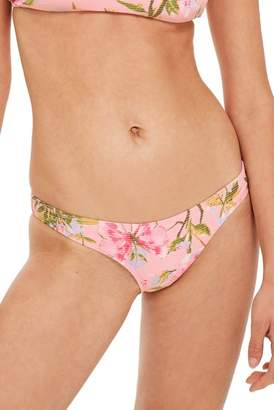 Topshop Floral High Cut Bikini Bottoms