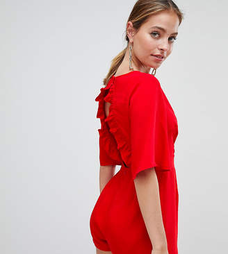 Missguided Petite Ruffle Open Back Playsuit