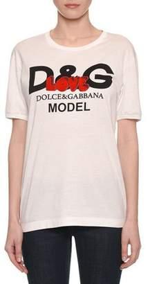Dolce & Gabbana Short-Sleeve Crewneck Model Love-Patch T-Shirt