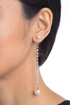 Free Press Synthetic Pearl & Rhinestone Drop Earrings