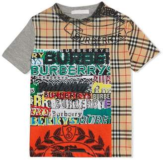 Burberry Vintage Check Logo Print Cotton T-shirt