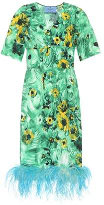 Prada Feather-trimmed printed dress