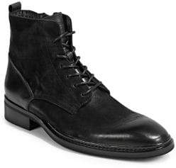 Karl Lagerfeld Almond-Toe Leather Lace-Up Boots