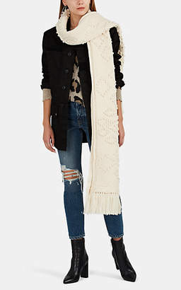 Saint Laurent Women's Aran Chunky-Knit Wool Blanket Scarf - Cream