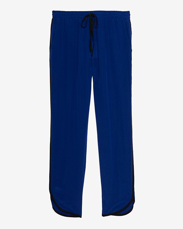 Brochu Walker Contrast Detail Silk Crepe Drawstring Pant