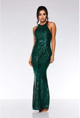 Quiz Bottle Green Sequin High Neck Fishtail Maxi Dress