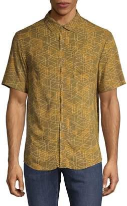 Highline Collective Geometric-Print Button-Down Shirt