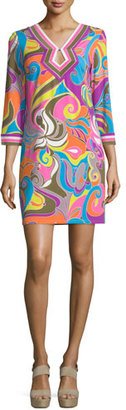 Trina Turk 3/4-Sleeve V-Neck Shift Dress, Multi Colors $180 thestylecure.com